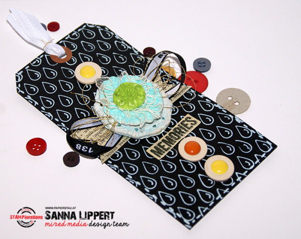 Sanna Lippert - stenciled water droplet background tag