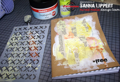 Sanna Lippert - altered, stenciled and stamped writing block cover
