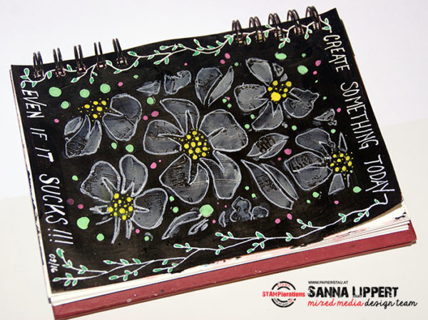 Sanna Lippert, black gesso, stencil, paint pen art journal sheet