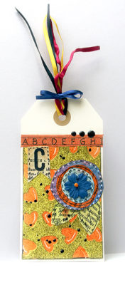 Sanna Lippert - book mark tag with glitter and die cutting