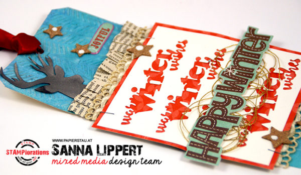Sanna Lippert - Leaf print stencil Xmas tag