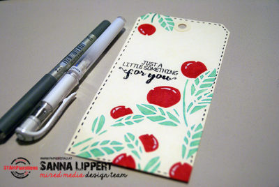Sanna Lippert - stenciled, colored tag