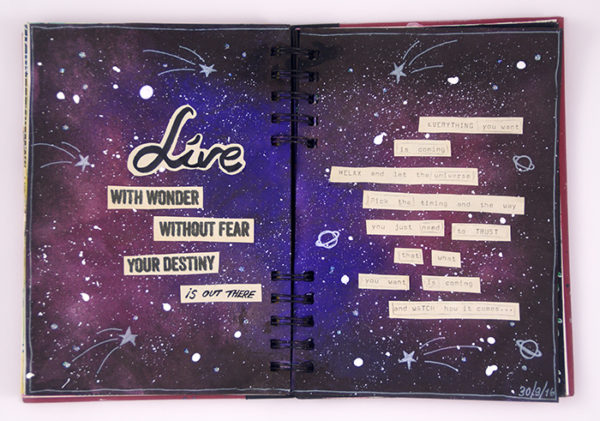 Universe Art Journal spread - Sanna Lippert