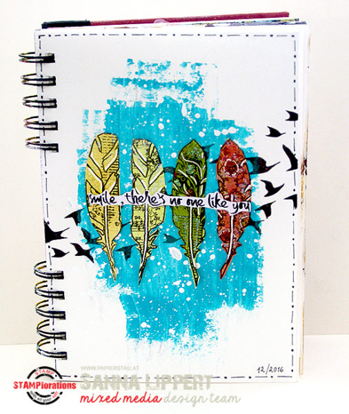 Sanna Lippert - stenciled art journal sheet